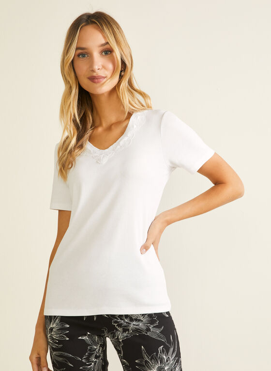 Lace Neckline Cotton T-Shirt, White