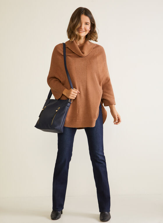 Shawl Collar Knit Poncho, Brown
