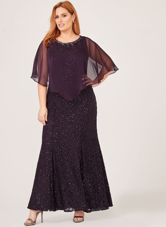 Chiffon Poncho Sequin Lace Maxi Gown Duo, Purple, hi-res