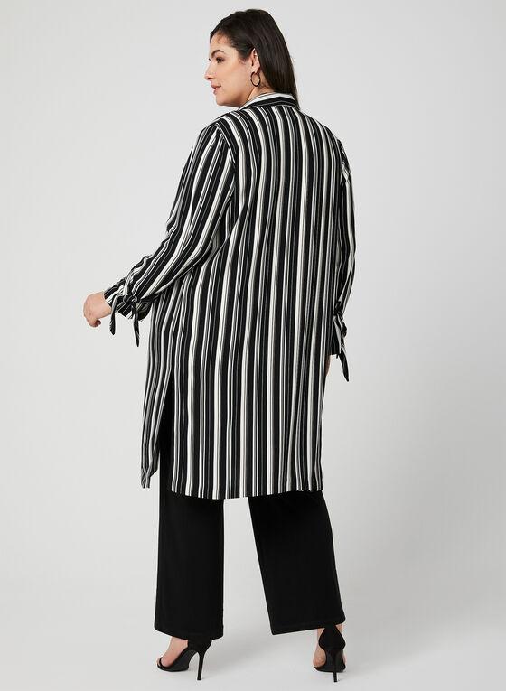 Veste longue ouverte à rayures, Noir, hi-res