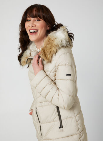 Novelti - Quilted Coat With Hood, Silver,  coat, quilted, long sleeves, faux fur, hood, vegan lining, Glow technology, fall 2019, winter 2019