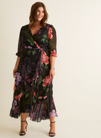 Floral Wrap Maxi Dress, Black,  spring summer 2020, 3/4 balloon sleeves, floral print, chiffon fabric