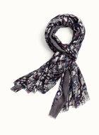 Foulard à franges et motif abstrait, Gris, hi-res