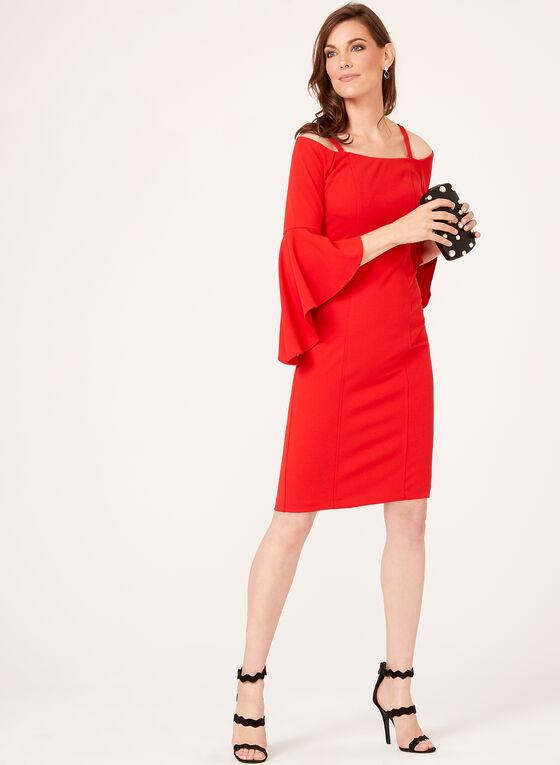 Robe épaules dénudées et manches cloche ¾, Rouge, hi-res