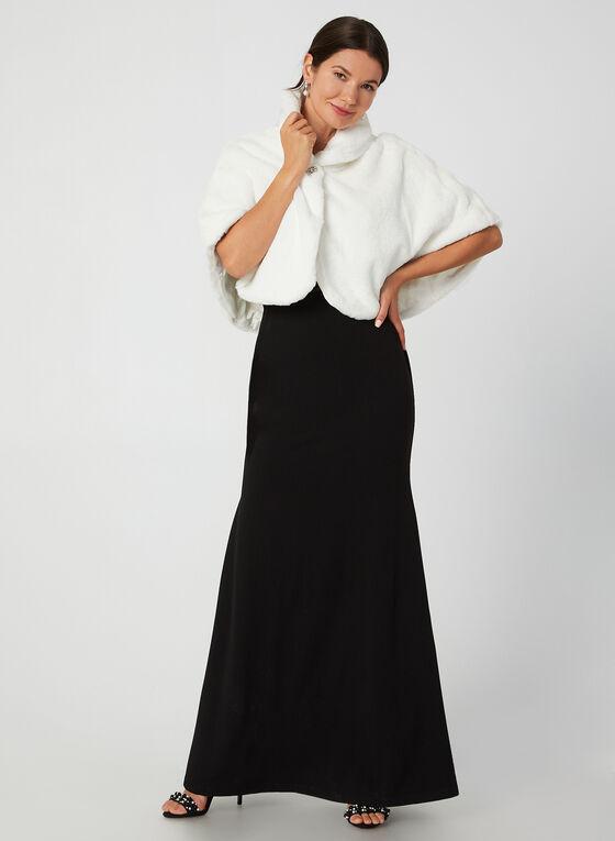 Nina Leonard - Faux Fur Capelet, Off White