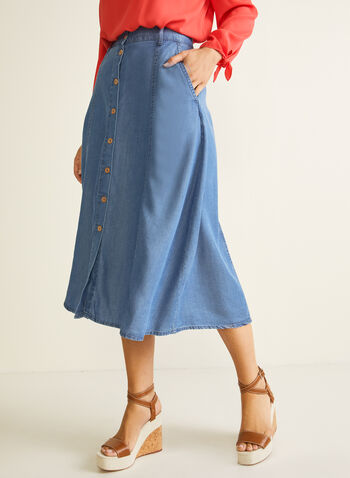 Blossom - Button Down Tencel Midi Skirt, Blue,  skirt, midi, tencel, buttons, pockets, belt loops, spring summer 2020