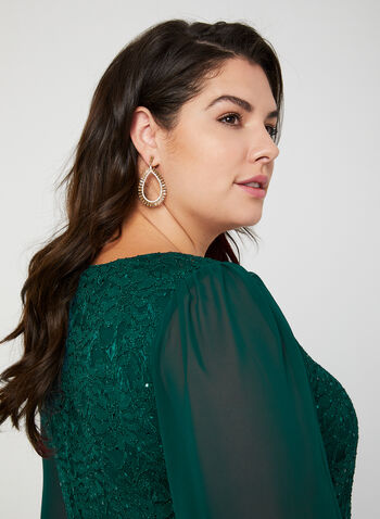 Lace & Sequin Dress, Green, hi-res,  lace dress, chiffon, sequin dress, glitter, evening dress, plus size, fall 2019, winter 2019