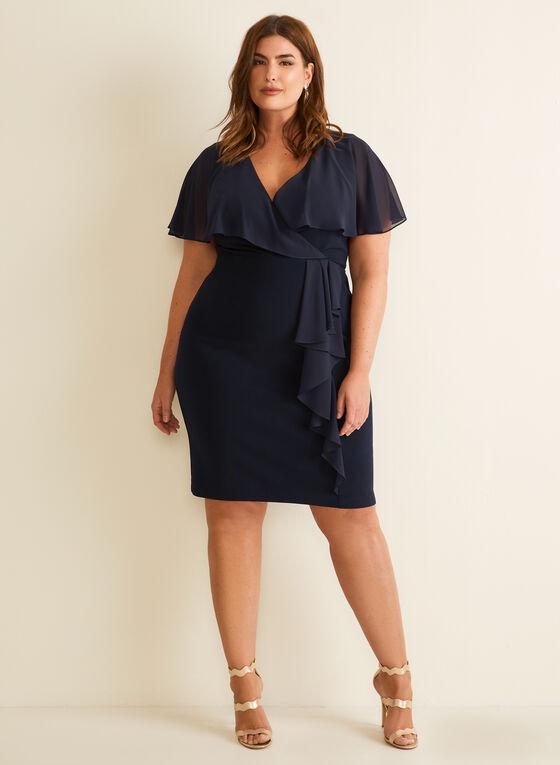 Joseph Ribkoff - Ruffle Sleeve Dress, Blue