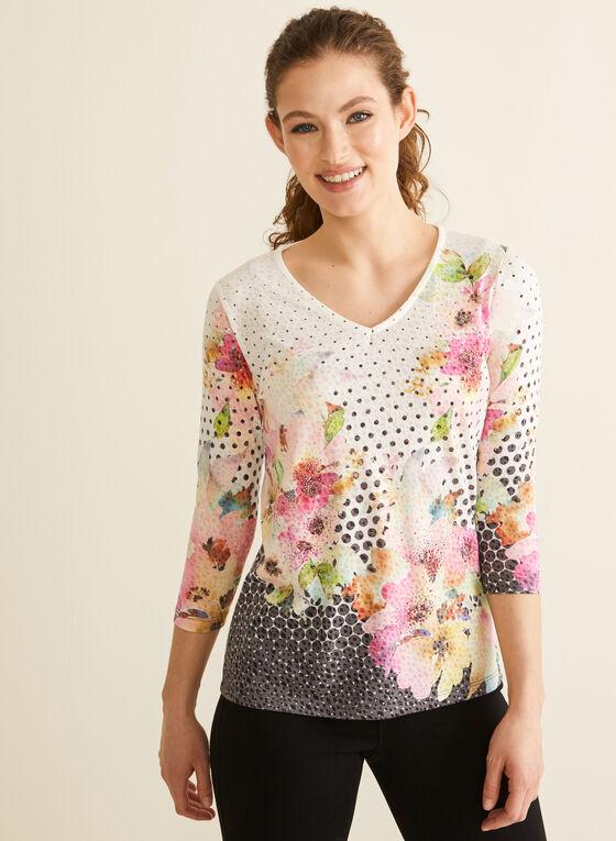 Mixed Floral & Polka Dot Print Tee, Grey