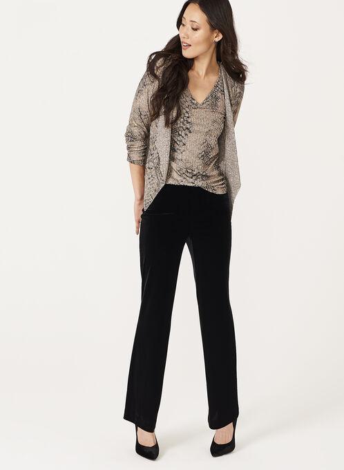 Wide Leg Velvet Pants, Black, hi-res
