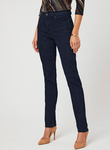 Simon Chang – Signature Fit Crystal Detail Jeans, Blue, hi-res