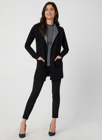 Long Two Tone Cardigan, Black, hi-res,  long sleeves, contrast trim, wool, pockets, fall 2019, winter 2019