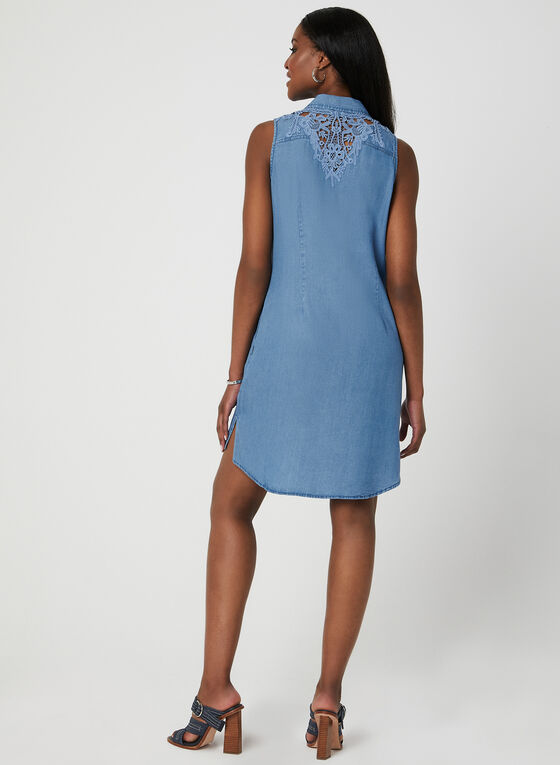 Sleeveless Shirt Dress, Blue