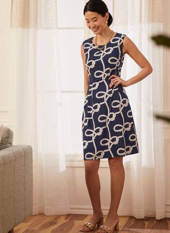 Sleeveless Rope Print Dress, Blue,  spring summer 2021, dress, rope print, sleeveless, boat neck, jersey material