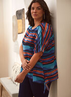 Striped Asymmetric Chiffon Blouse, Blue