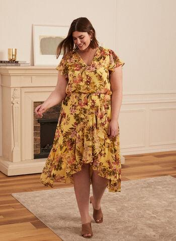 Floral Print Dress, Yellow,  spring summer 2021, dresses, floral print, flowers, flowery, v-neck, ruffled sleeves, cap sleeves, elastic waist, button detail, long hem, chiffon