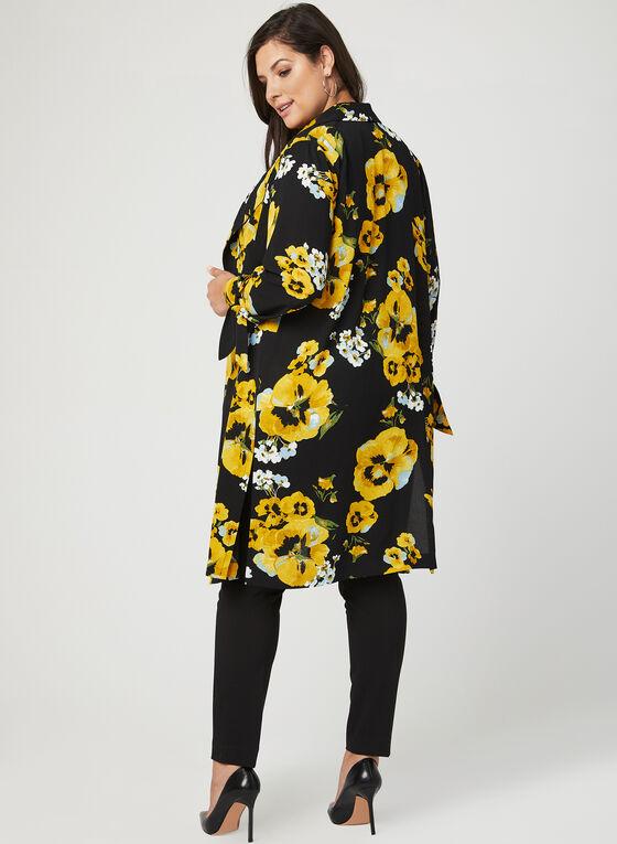 Veste longue en crêpe motif fleuri, Jaune, hi-res