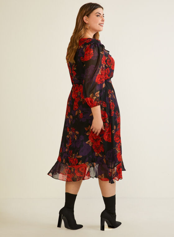 Floral Print Ruffle Detail Dress, Red