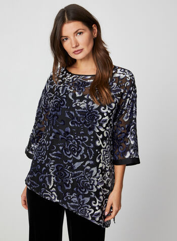 Floral Print Burnout Top, Blue,  blouse, top, floral print top, kimono top, poncho top, burnout, fall 2019, winter 2019, holiday