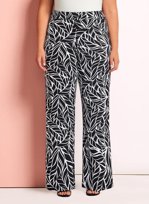 Pantalon à jambe large motif feuilles , Noir, hi-res