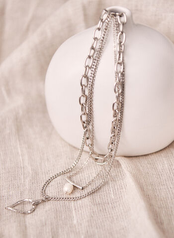 Triple Row Metallic Pendant Necklace, Off White,  necklace, jewellery, accessories, pearl, pendant, metallic, leaf, teardrop, chain, link, oversize, triple, spring summer 2021