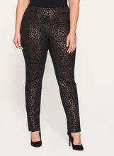 Foil Animal Print Pull-On Pants, Black, hi-res