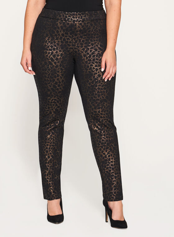 Foil Animal Print Pull-On Pants, Black, hi-res