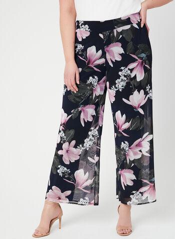 Pantalon coupe moderne en mousseline fleurie, Bleu, hi-res
