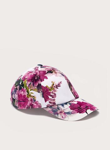 Floral Print Cap , Pink, hi-res