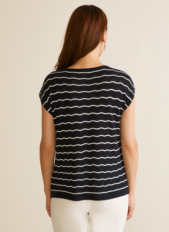 Stripe Print Short Sleeve Top, Blue