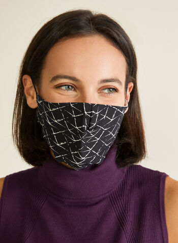 Pin Point - Geometric Print Mask, Black,  mask, protective, reusable, washable, breathable, comfortable, spring summer 2020