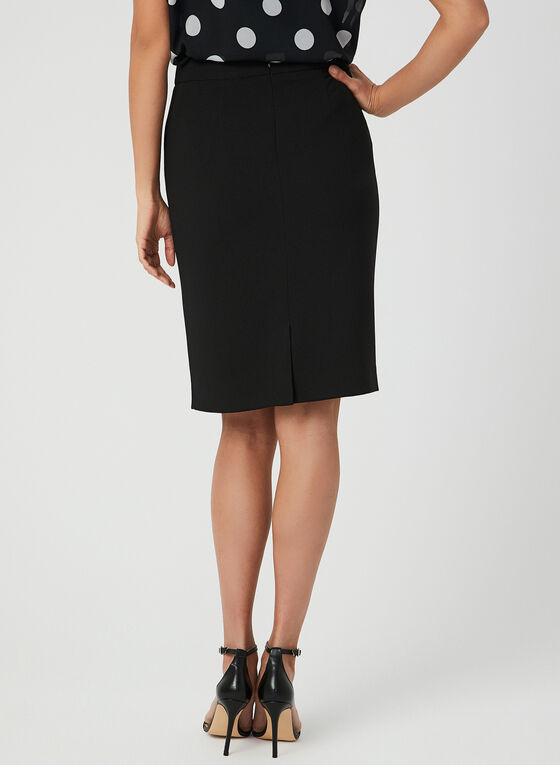 Faux Pocket Pencil Skirt, Black