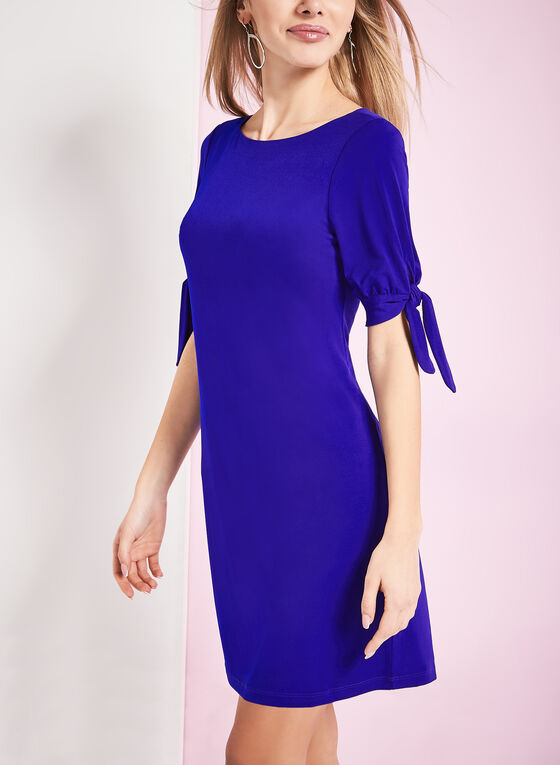 Jersey Tie Detail Shift Dress , Blue, hi-res