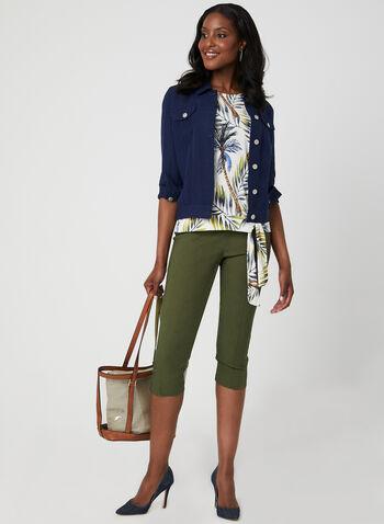 Palm Print Tie Detail Top, Green, hi-res,  short sleeves, drop shoulder, tropical print, spring 2019