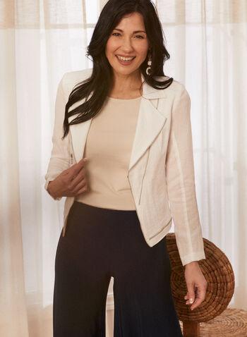 Vex - Zipper Detail Linen-Like Blazer, White,  blazer, notch collar, linen, zipper, long sleeves, spring summer 2020