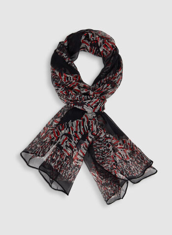 Foulard à imprimé abstrait style patchwork, Rouge, hi-res,  mousseline, foulard léger, automne hiver 2019
