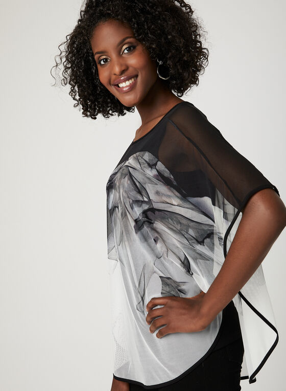 Abstract Print Mesh Poncho Blouse, Black, hi-res