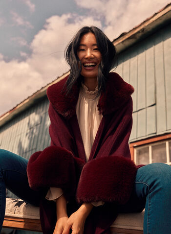 Faux Fur Trim Poncho, Red,  fall winter 2021, accessories, poncho, wrap, faux fur trim, fur, soft, comfy, warm, outerwear, scarf