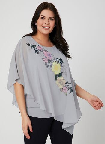Floral Print Poncho Blouse, Grey, hi-res
