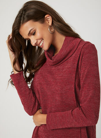 Asymmetrical Cowl Neck Knit Top, Red, hi-res