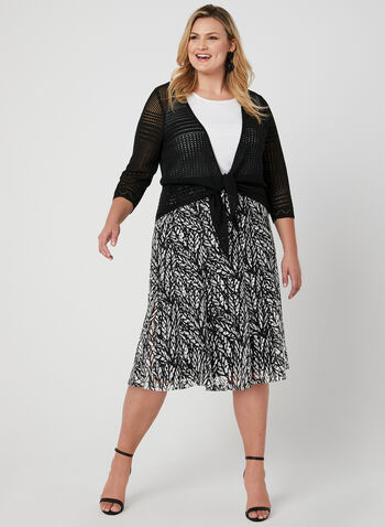 Jupe midi pull-on en crochet, Noir, hi-res