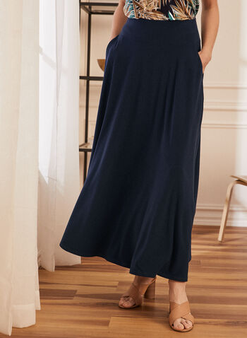 Jupe maxi à enfiler , Bleu,  jupe, maxi, facile à enfiler, poches, automne hiver 2020