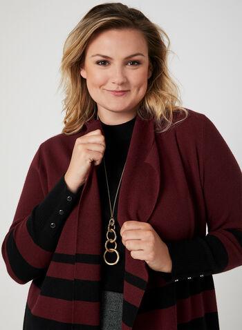 Cardigan long à blocs de couleurs, Noir, hi-res,  manches longues, ouvert, revers, détails boutonnés, automne hiver 2019