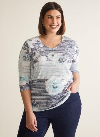 T-shirt fleurs et rayures à strass, Bleu,  t-shirt, manches 3/4, fleurs, rayures, strass, jersey, printemps été 2020
