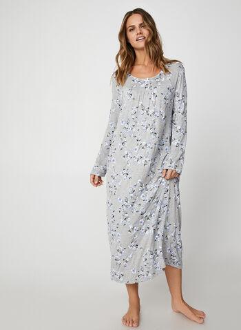 Bellina - Maxi Floral Print Nightgown, Grey,  nightgown, printed nightgown, flowers, floral print, print, comfortable, gift, pyjama, fall 2019, winter 2019
