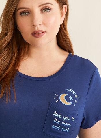 Pillow Talk - Pyjama 2 pièces motif astral, Bleu,  pyjama, deux pièces, capri, t-shirt, lune, étoile, poche poitrine, printemps été 2020