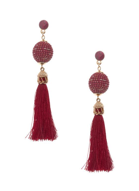 Pendants d'oreilles avec perles et pompon, Rouge, hi-res