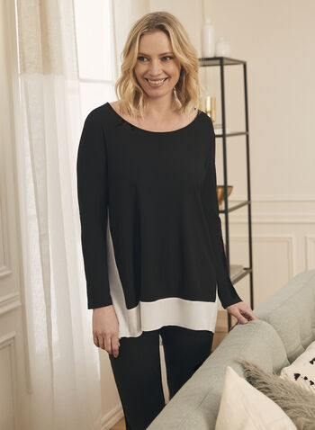 Long Sleeve Contrast Detail Tunic, Black,  top, blouse, tunic, crepe, stretchy, scoop neck, long sleeve, contrast, spring summer 2020