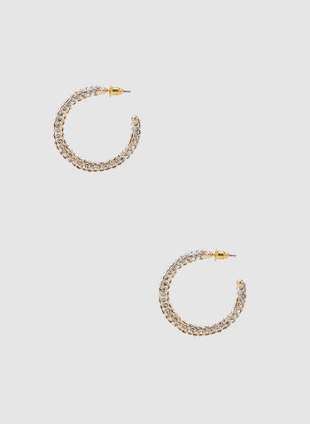 Crystal Hoop Earrings, Gold, hi-res