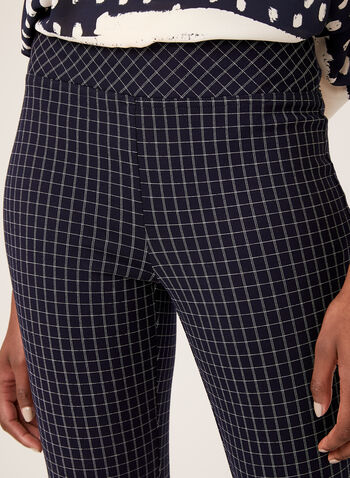 Slim Leg Pull-On Grid Print Pants, Blue, hi-res